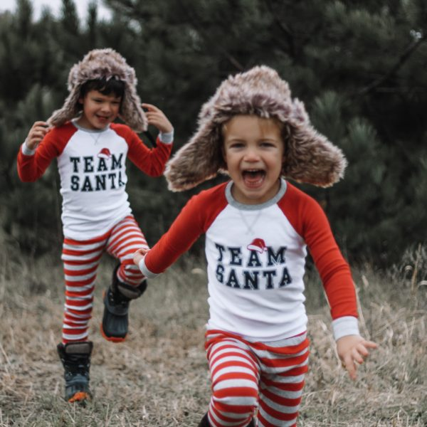 red and white team santa raglan top pajama set