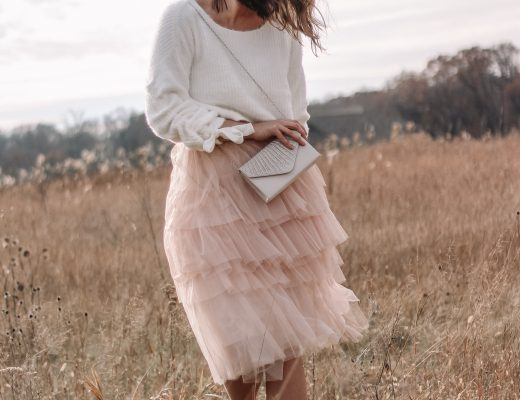 blush pink ruffle tulle skirt with cropped eyelash sweater photo ideas in a large open field