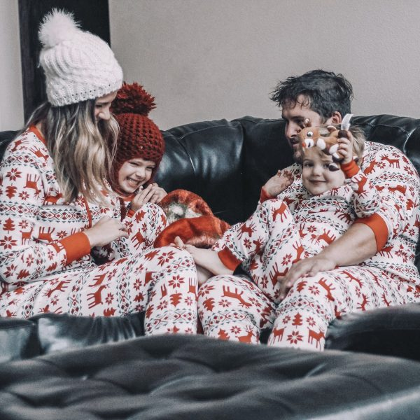 matching family pajamas dear deer long john pajamas red and white