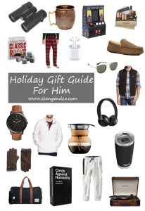 2019 holiday gift guide for him sherpa pullover jogger pants leather gloves binoculars moscow mule kit weekend bag cards against humanity record player tetris game airdrop headphones sunglasses drip coffee maker beats headphones patagonia vest whiskey rocks sherpa slippers