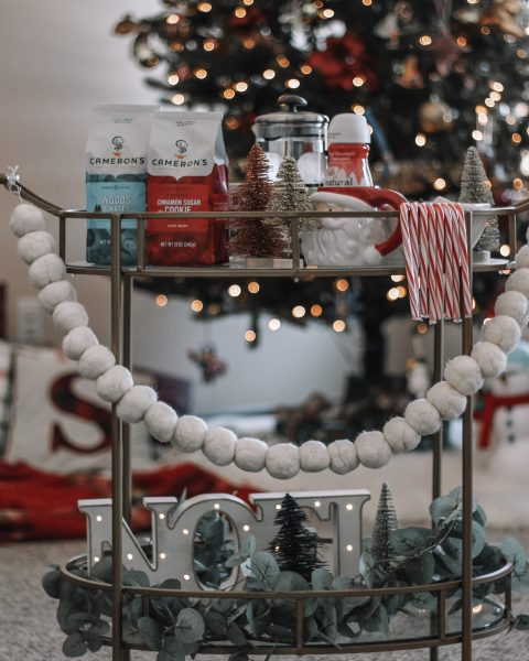 coffee bar hot cocoa bar on bar cart holiday bar cart christmas bar cart