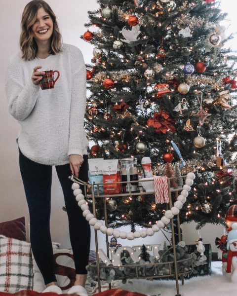 White fuzzy amazon swaeter spanx velvet leggings gold bar cart 12 foot christmas tree plaid pillows holiday bar cart inspo