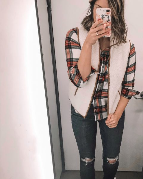 red and green plaid top sherpa vest distressed skinny jeans