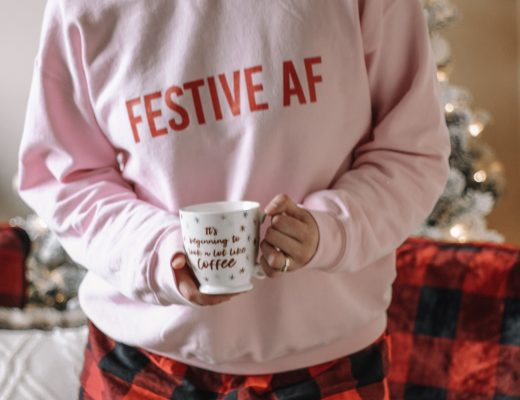 buffalo plaid pajama shorts festive sweatshirt christmas mug