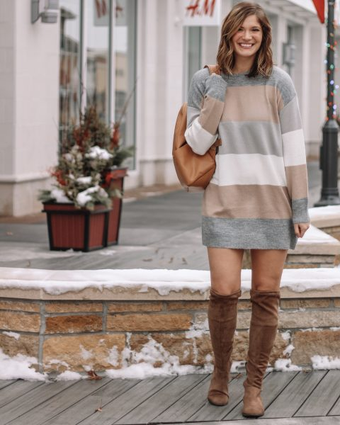 gray tan and white colorblock sweater dress tan suede over the knee boots tan backpack diaper bag