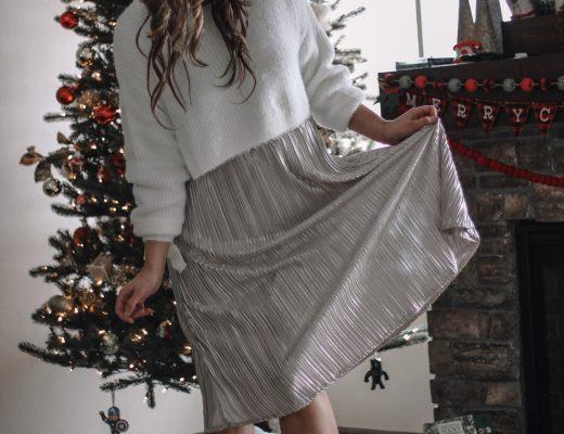 champagne shimmer skirt white eyelash swaeter christmas tree photos