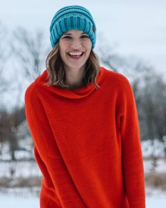 red free people mock neck swaeter teal slouchy CC beanie