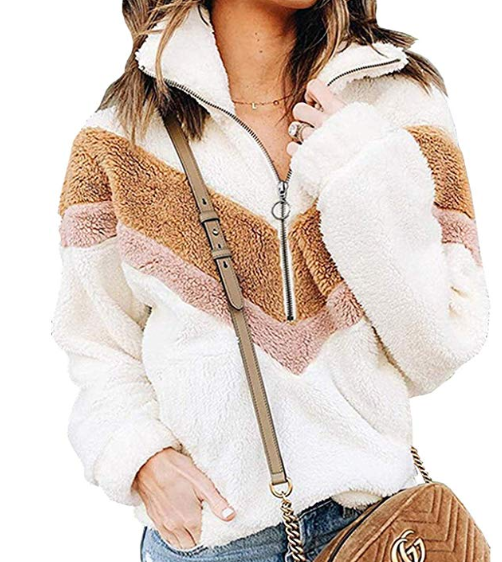 quarter zip white brown and pink sherpa pullover from amazon