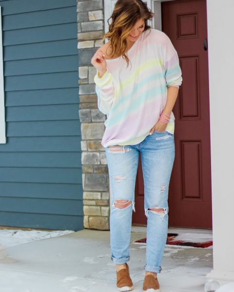 rainbow shirt pastel rainbow top valentines day top valentines day outfits tomgirl stretch jeans