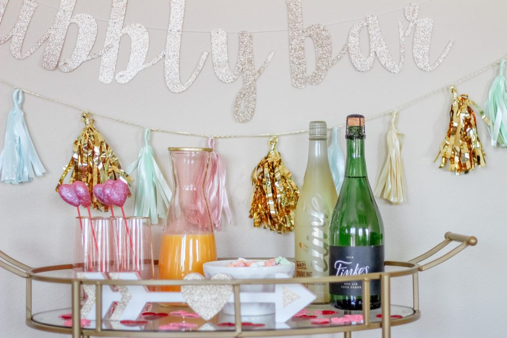 best wine subscription service wine subscription champagne bar mimosa bar stemless champagne flutes gold bar cart