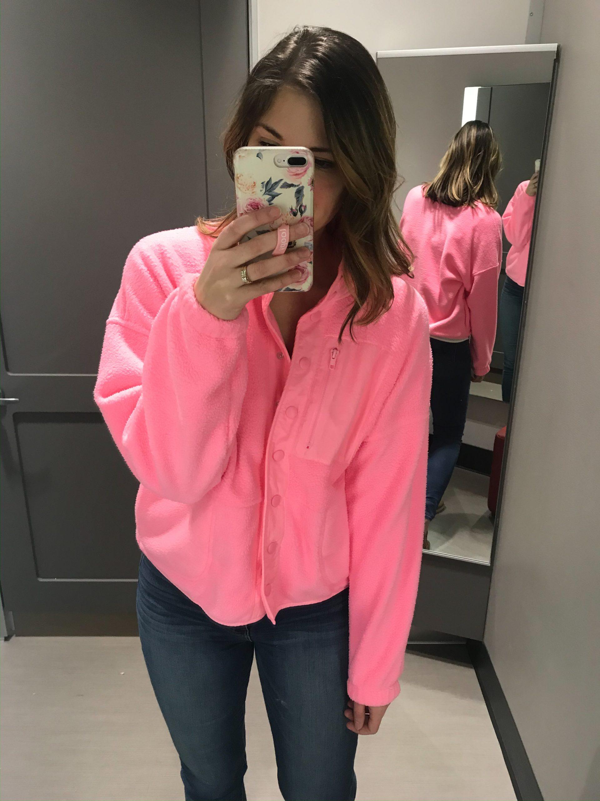 target dressing room pink jacket button front jacket sherpa jacket floral loopy phone case