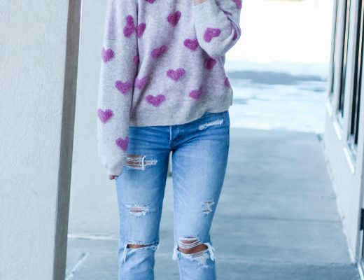 pink and gray eyelash fuzzy heart sweater tomgirl jeans tan slip on sneakers