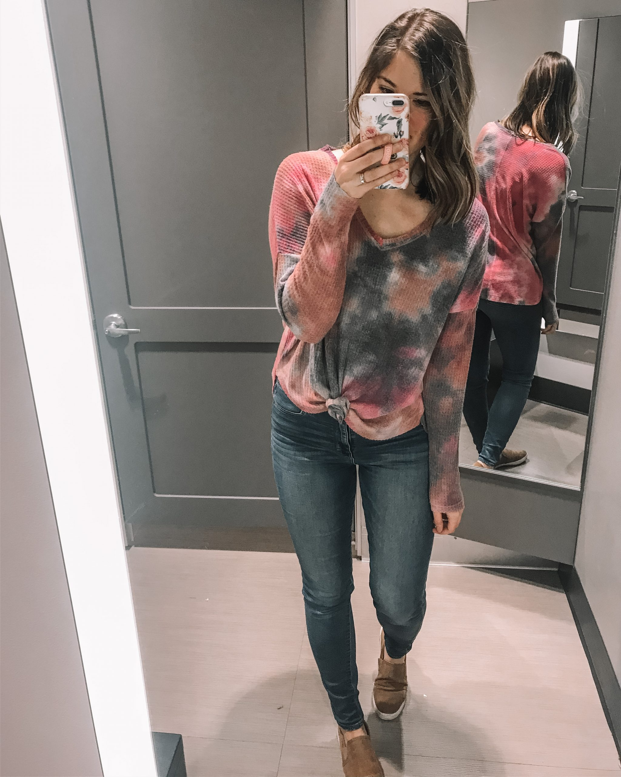 Tie dye waffle knit thermal top target style wild fable clothing for women knot front thermal tee