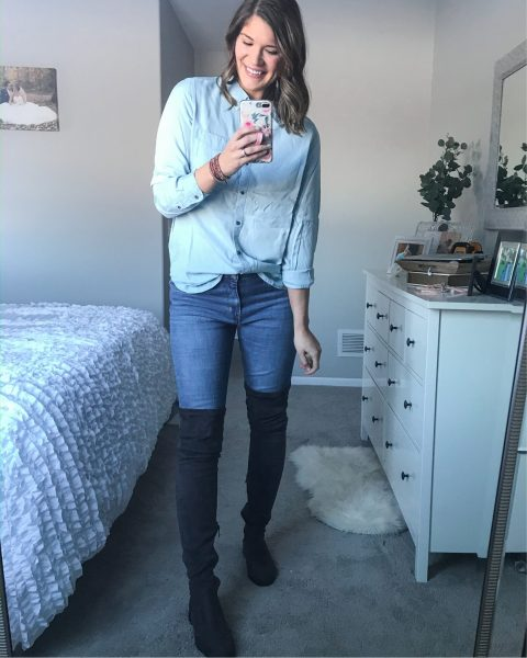 chambray daily ritual top for women with extra tall over the knee faux suede boots