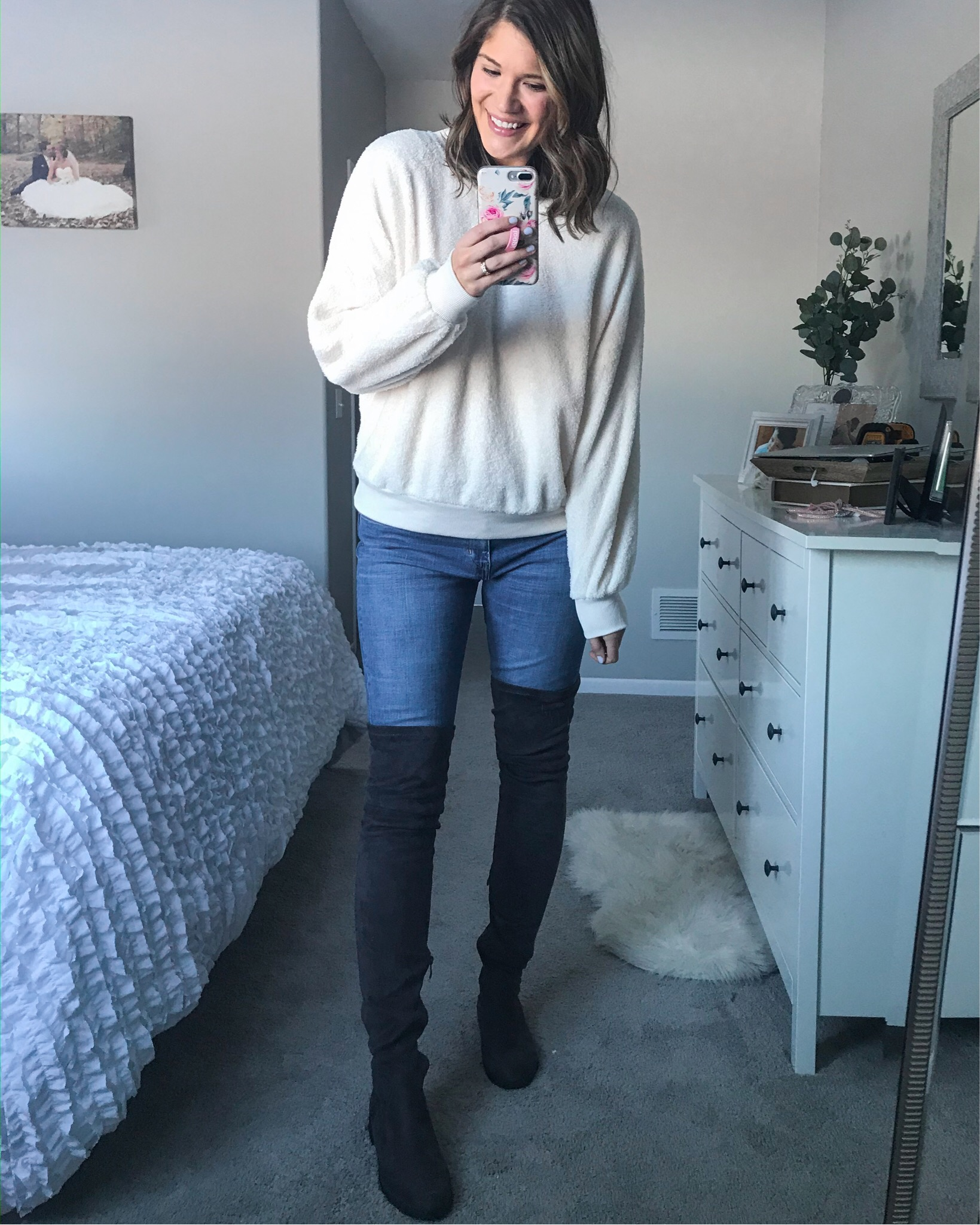 white sweatshirt ivory fuzzy sweatshirt crew neck sherpa sweatshirt faux suede over the knee boots american eagle extra long jeans hemnes dresser ruffle white comforter