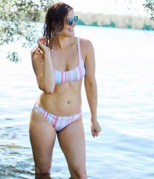 Pastel vertical striped scoop neck bikini