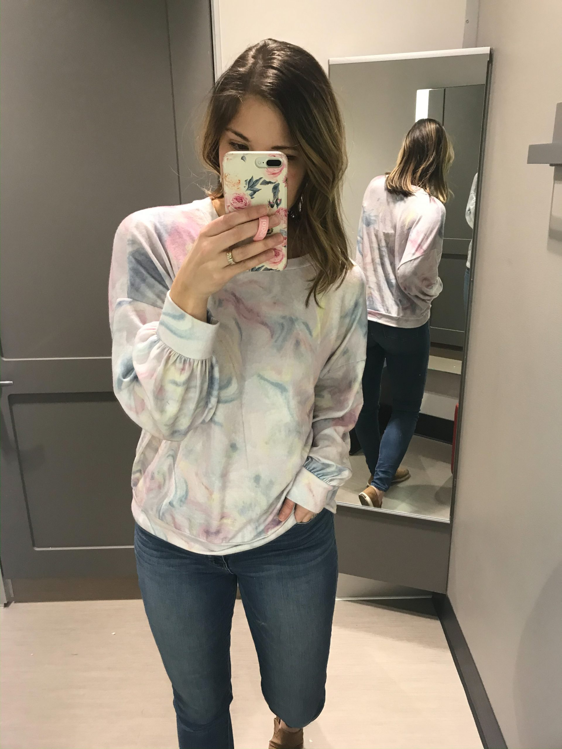 Pink blue and yellow pastel tie dye sweatshirt floral phone case blue jeans target fashion