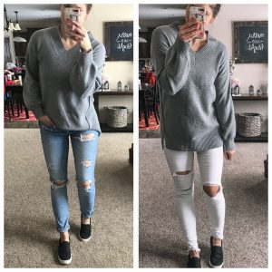 tomgirl stretch jeans white distressed jegging gray walmart sweater gray tunic sweater no bad days sneakers black slip on sneakers