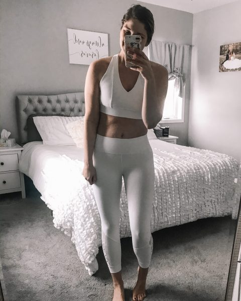 white fabletics conservative sports bra full coverage sports bra
