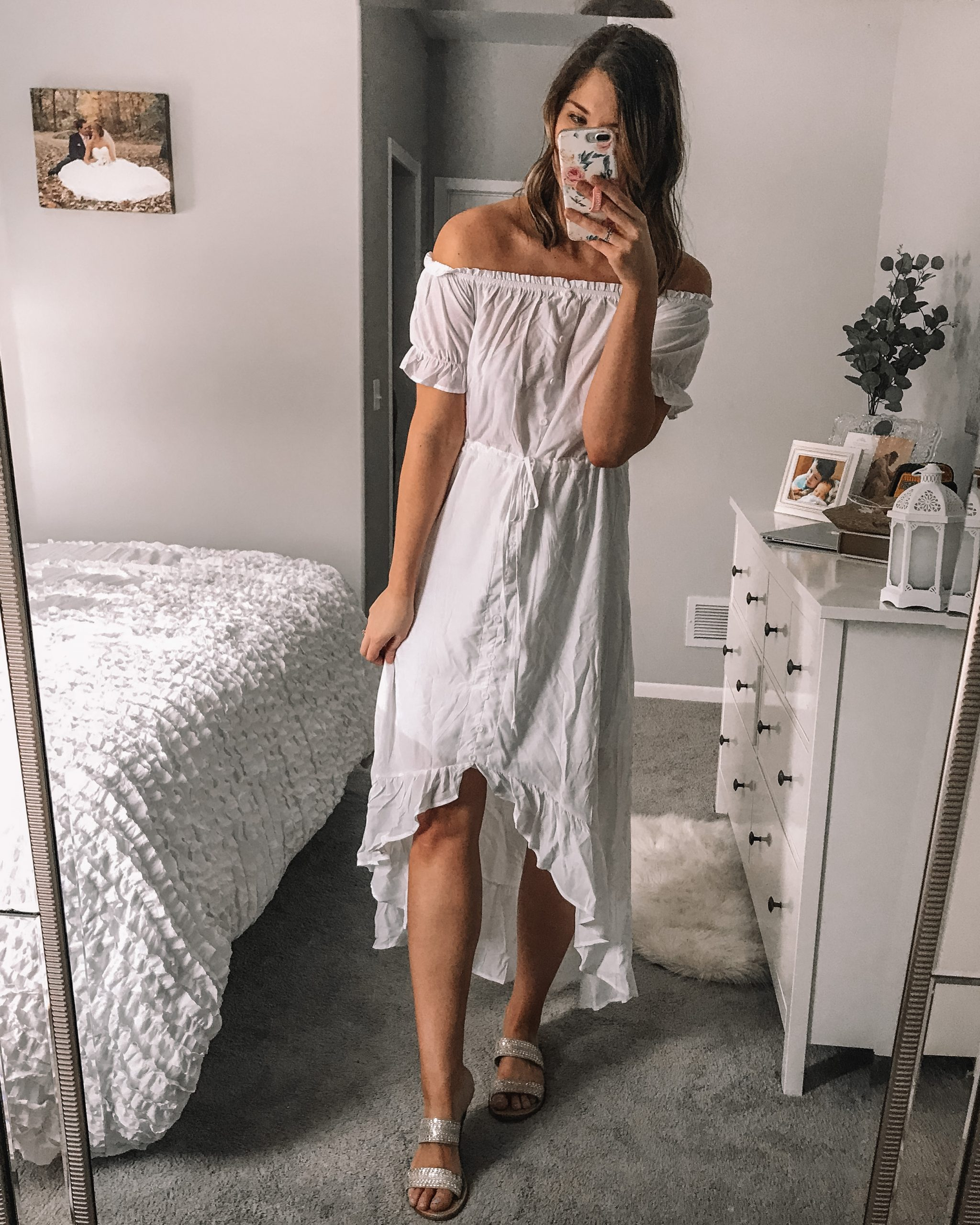 ruffle off the shoulder dress button front dress drawstring waist poofy sleeves