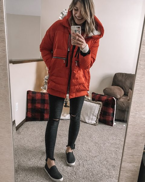 teh amazon coat in red black distressed wild fable skinny jeans buffalo plaid sherpa pillows black dr scholls slip on no bad days sneakers