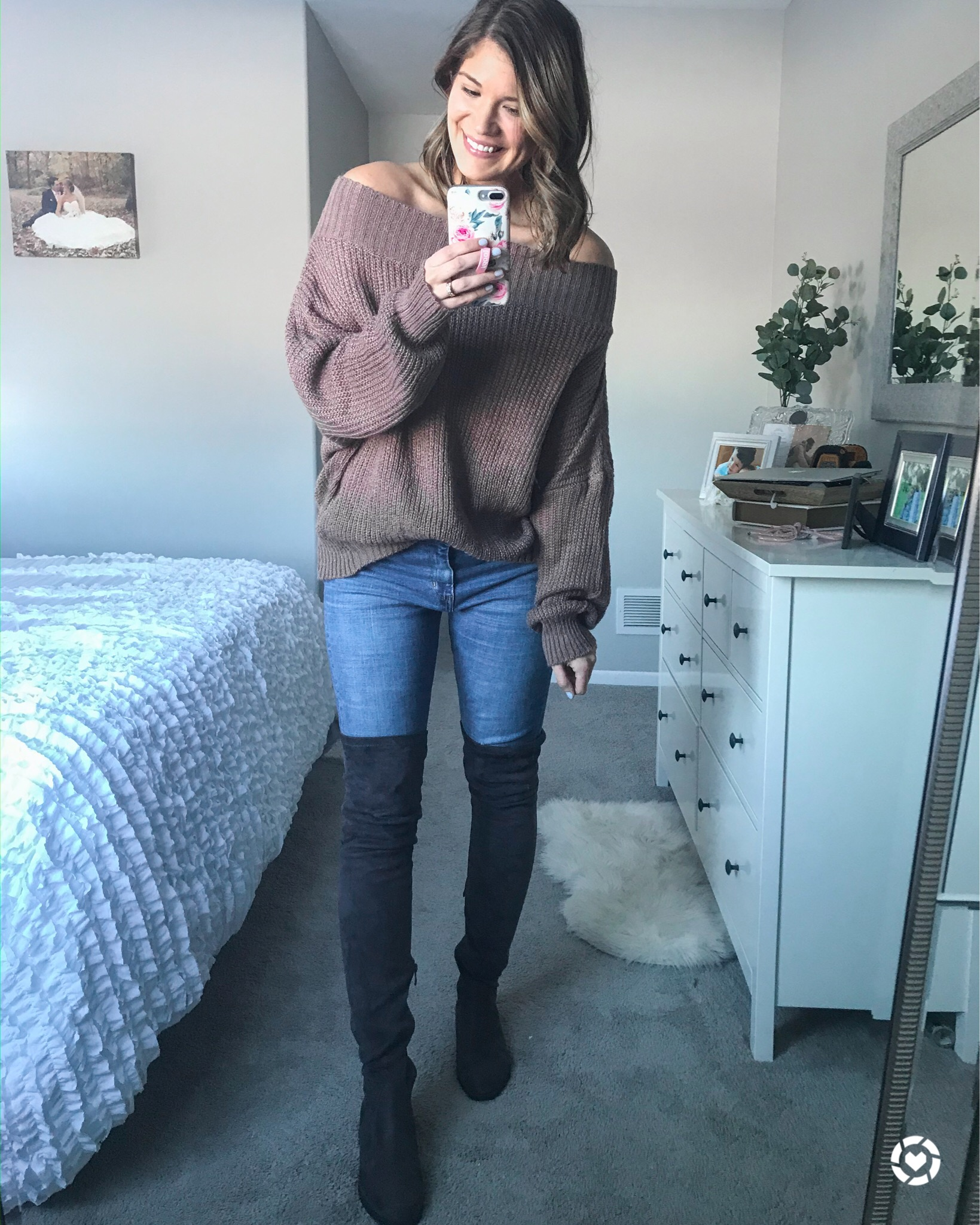 brown off the shoulder chunky oversized sweater ruffle white comforter ikea hemnes dresser faux suede over the knee boots floral loopy case