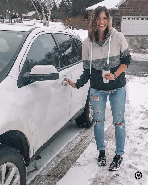adidas swift run cheetah print shoes amazon quarter zip colorblock hockey sweatshirt and tomgirl stretch jeans