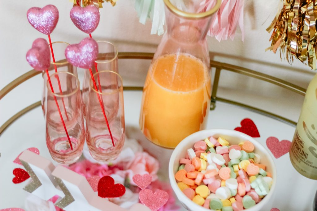 heart drink stirrers rose gold champagne flutes cute valentines day decor