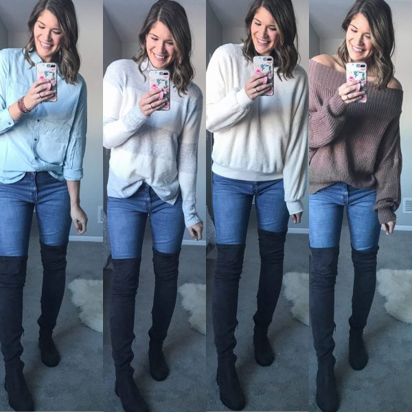 cute sweaters and extra tall faux suede over the knee boots from amazon