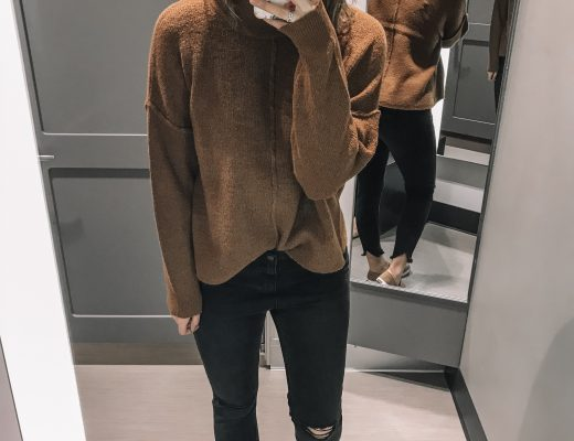 tan sweater black distressed jeans tan slip on sneakers