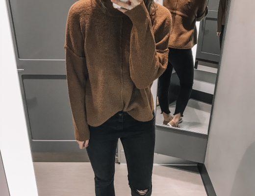 tan sweater black distressed jeans tan slip on sneakers