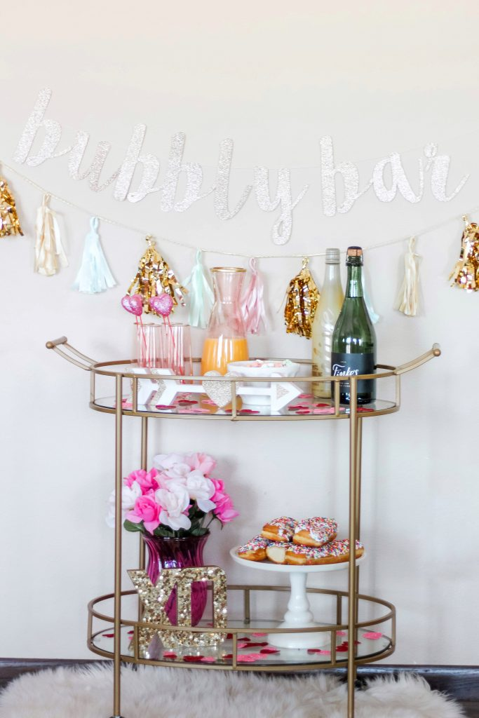 valentines day bar cart ideas pink and gold bar cart girly bar cart festive bar cart