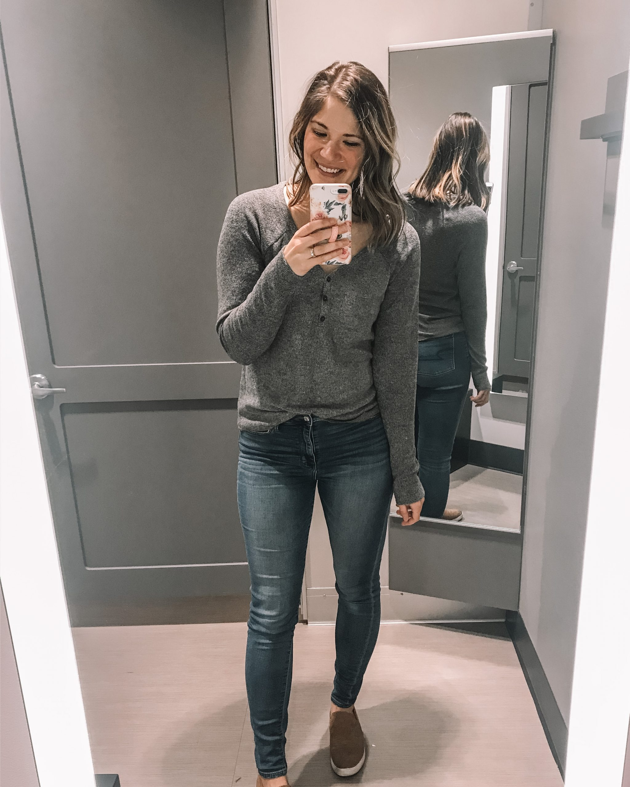 charcoal gray plush thermal henley top with extra long sleeves target style universal threads henley top