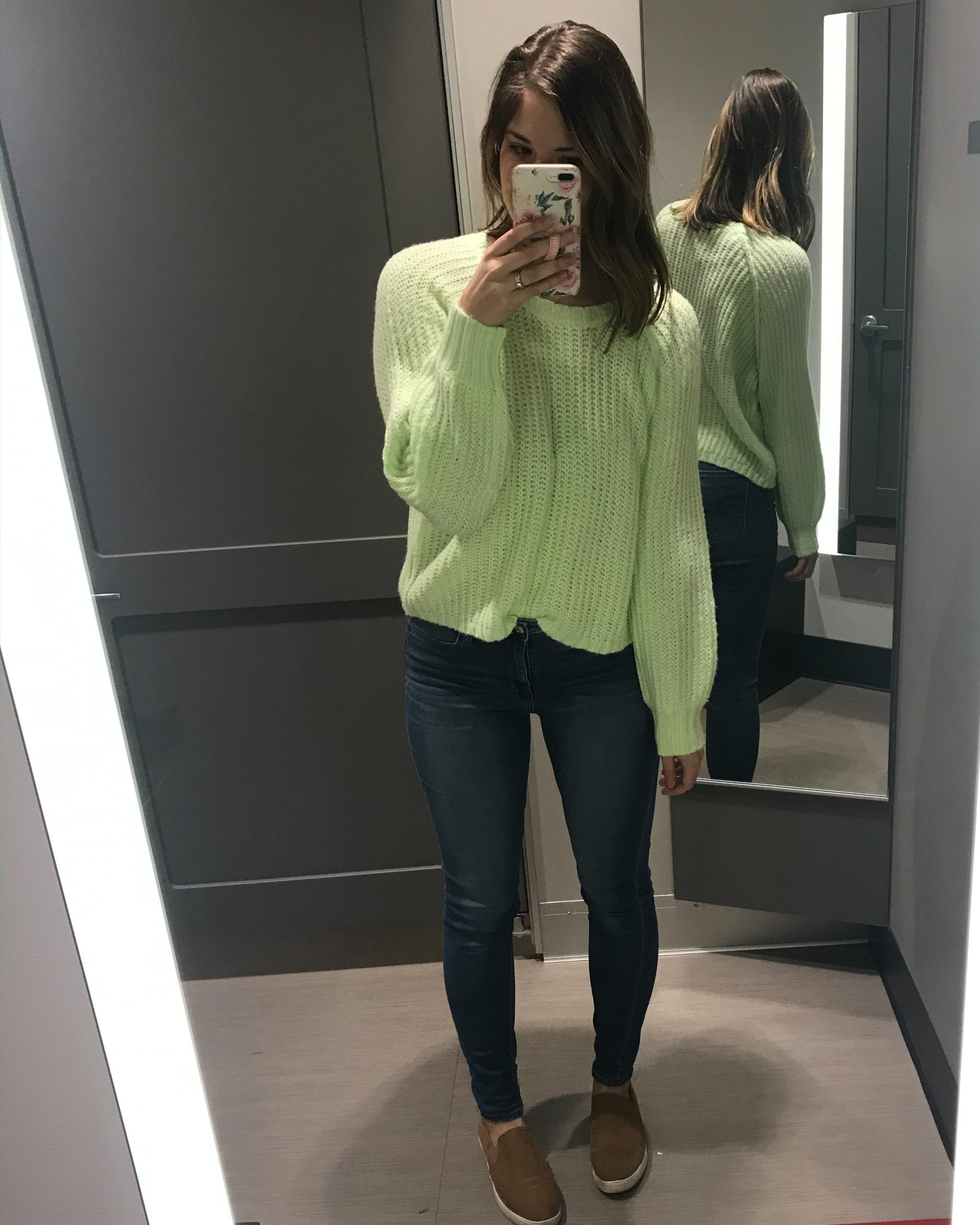 neon sweater green sweater balloon sleeve sweater wild fable sweater