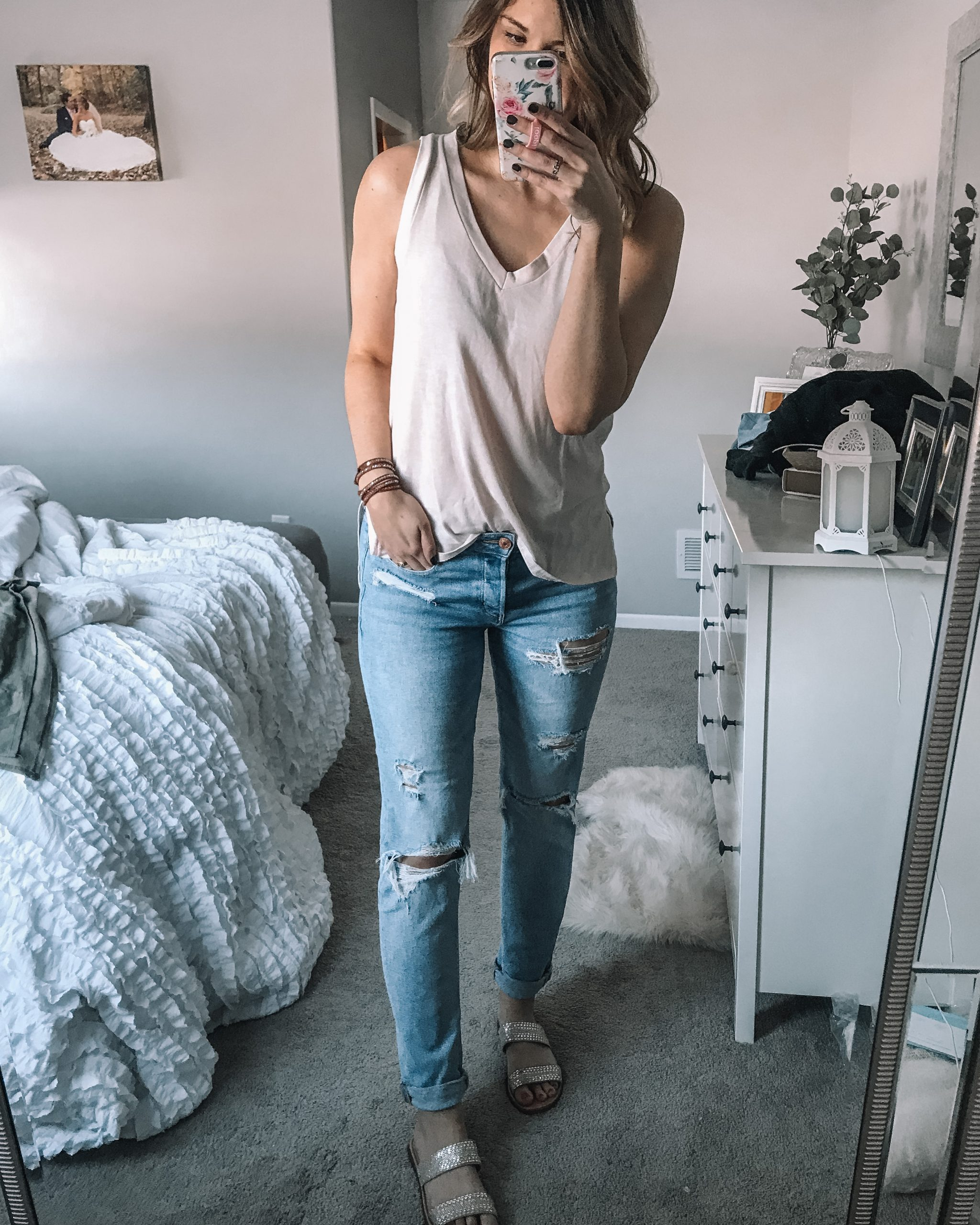 ivory v neck tank top from aerie tomgirl stretch jeans rhinestone slide sandals from target