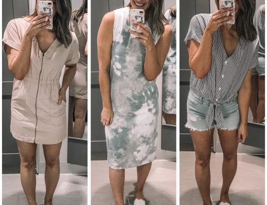 tie dye tank top midi dress blush zipf ront utility dress blue and white striped tie front short sleeve blouse white slide sandals cutoff lightwash shorts