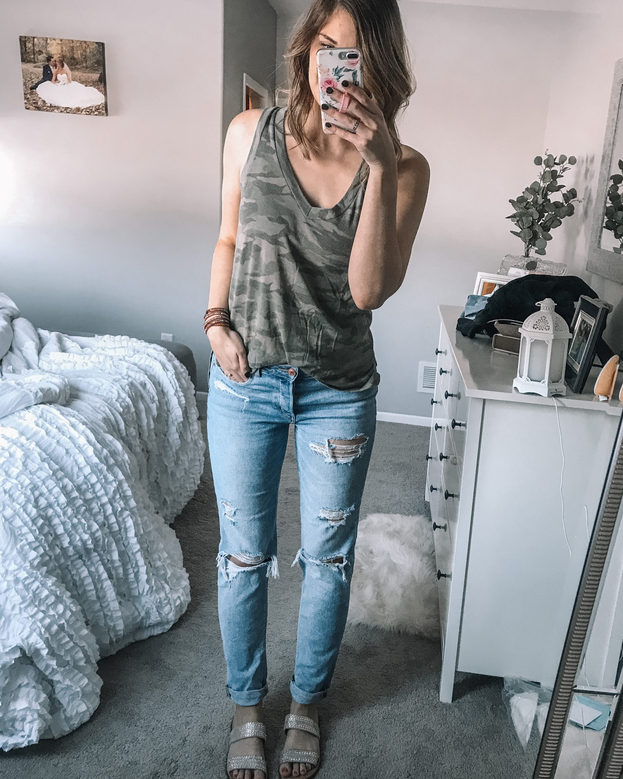 camoflauge v neck tank top from aerie tomgirl stretch jeans rhinestone slide sandals from target