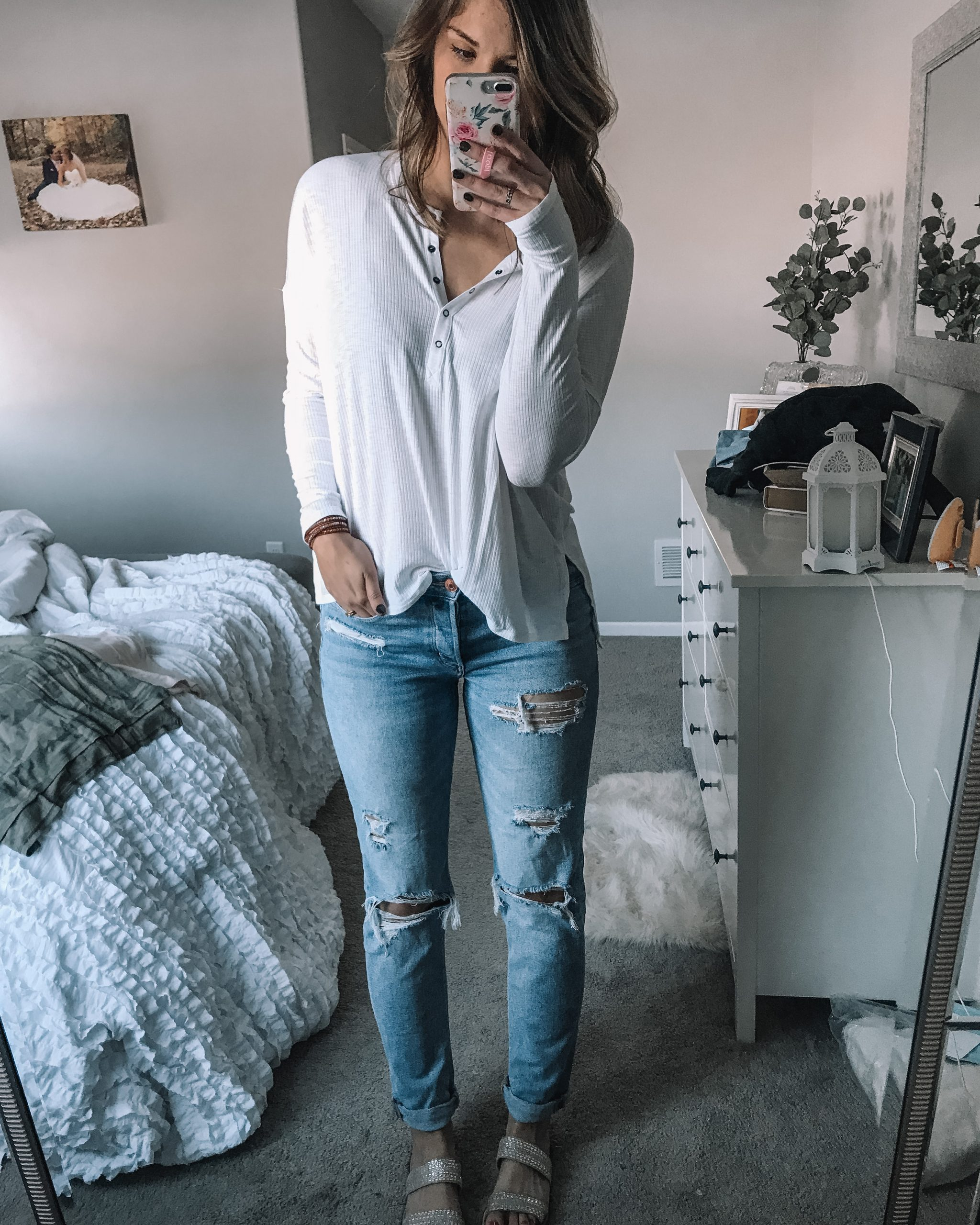 white henley tee long sleeve with thumb holes tomgirls tretch jeans rhinestone slide sandals from target