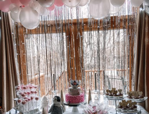 pink and silver penguin winter baby shower
