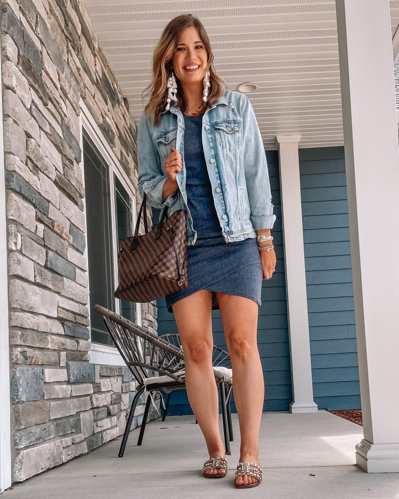 leith ruched bodycon tank dress / old navy distressed jean jacket / $9 LV inspired checkered tote / tassel earrings / rhinestone steve madden sandals