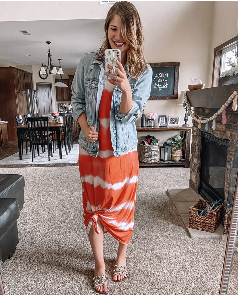 maxi dress / red and white maxi dress / amazon maxi dress / tie dye maxi dress / ombre maxi dress. sam edelman embellished bay slides / jean jacket / tall jean jacket