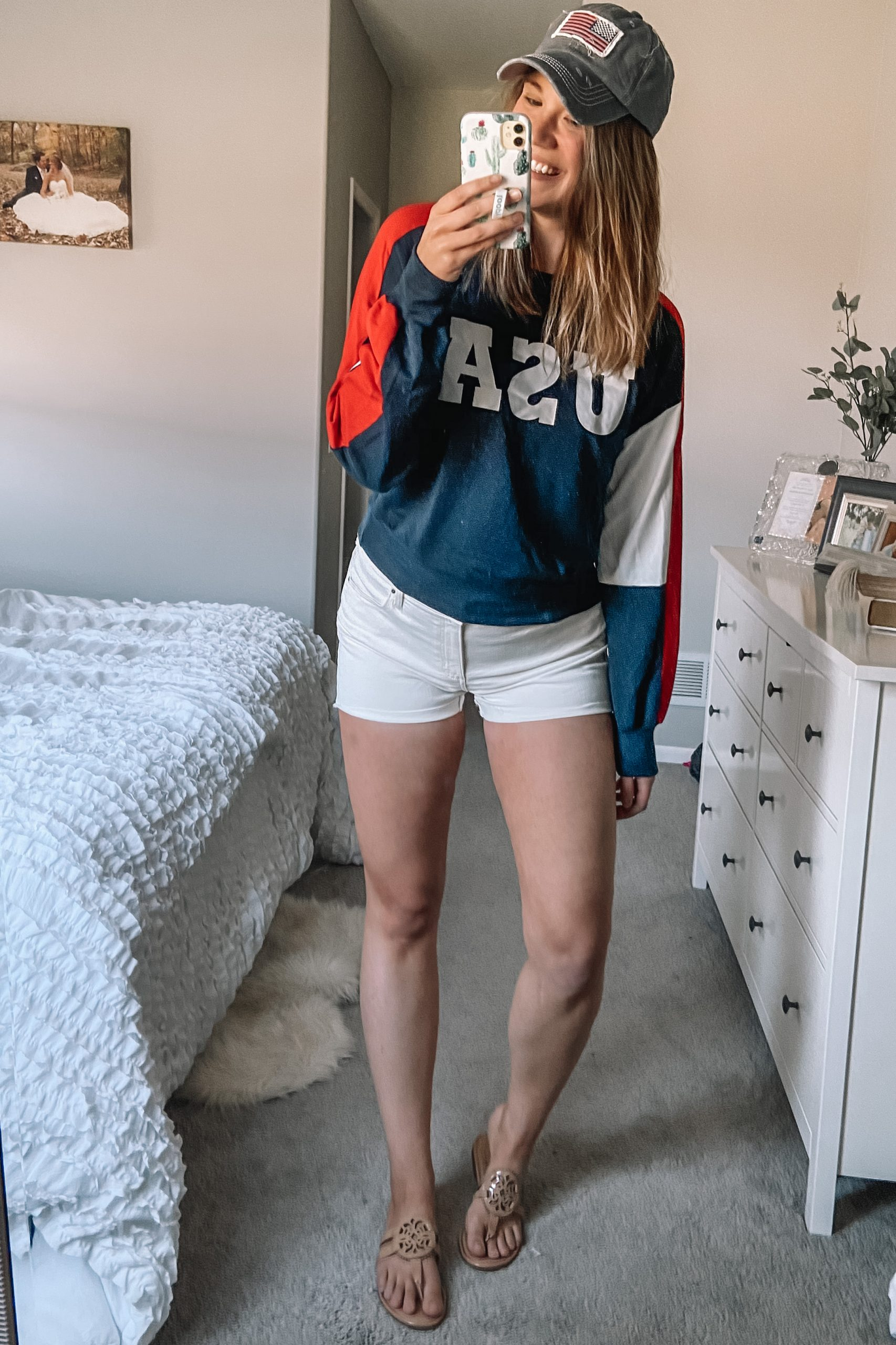 american flag hat red white and blue usa sweatshirt white denim shorts tory burch miller dupes