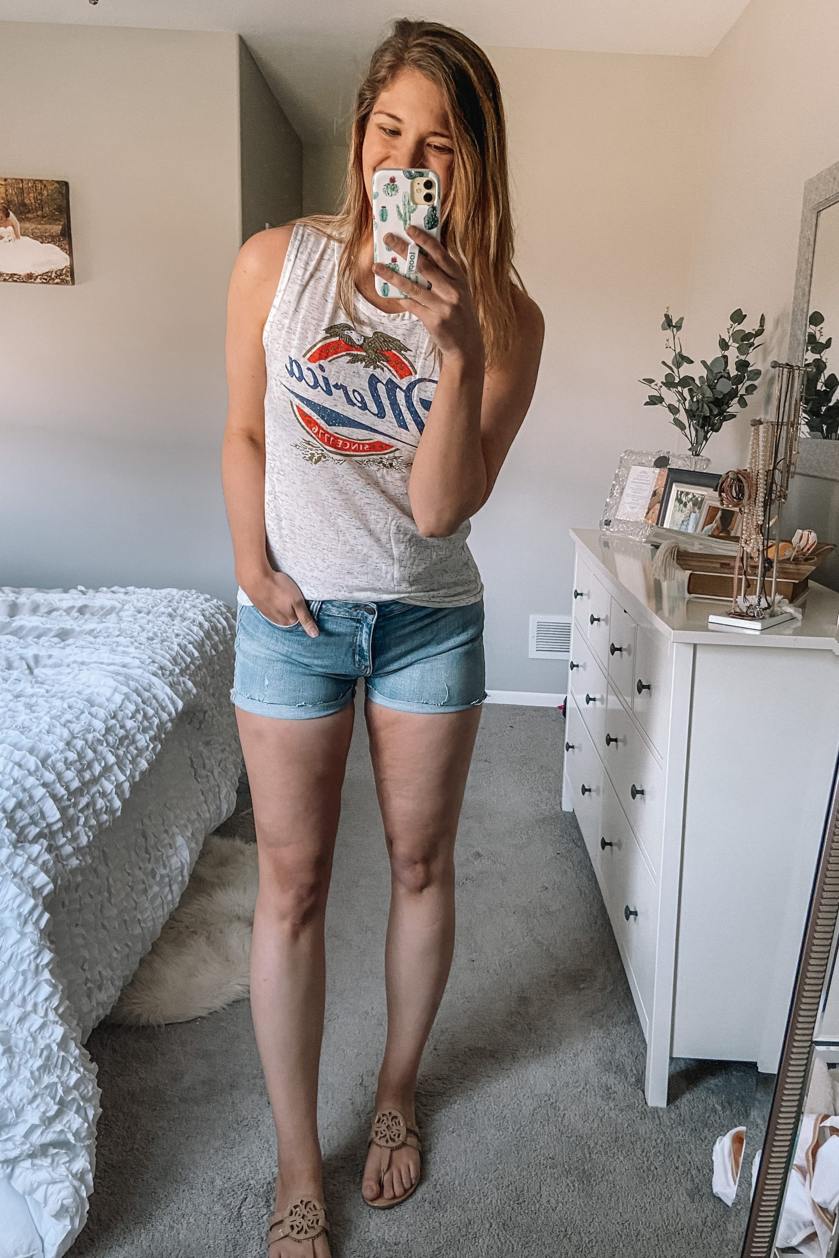 vintage merica marled tank top denim shorts tory burch miller dupes