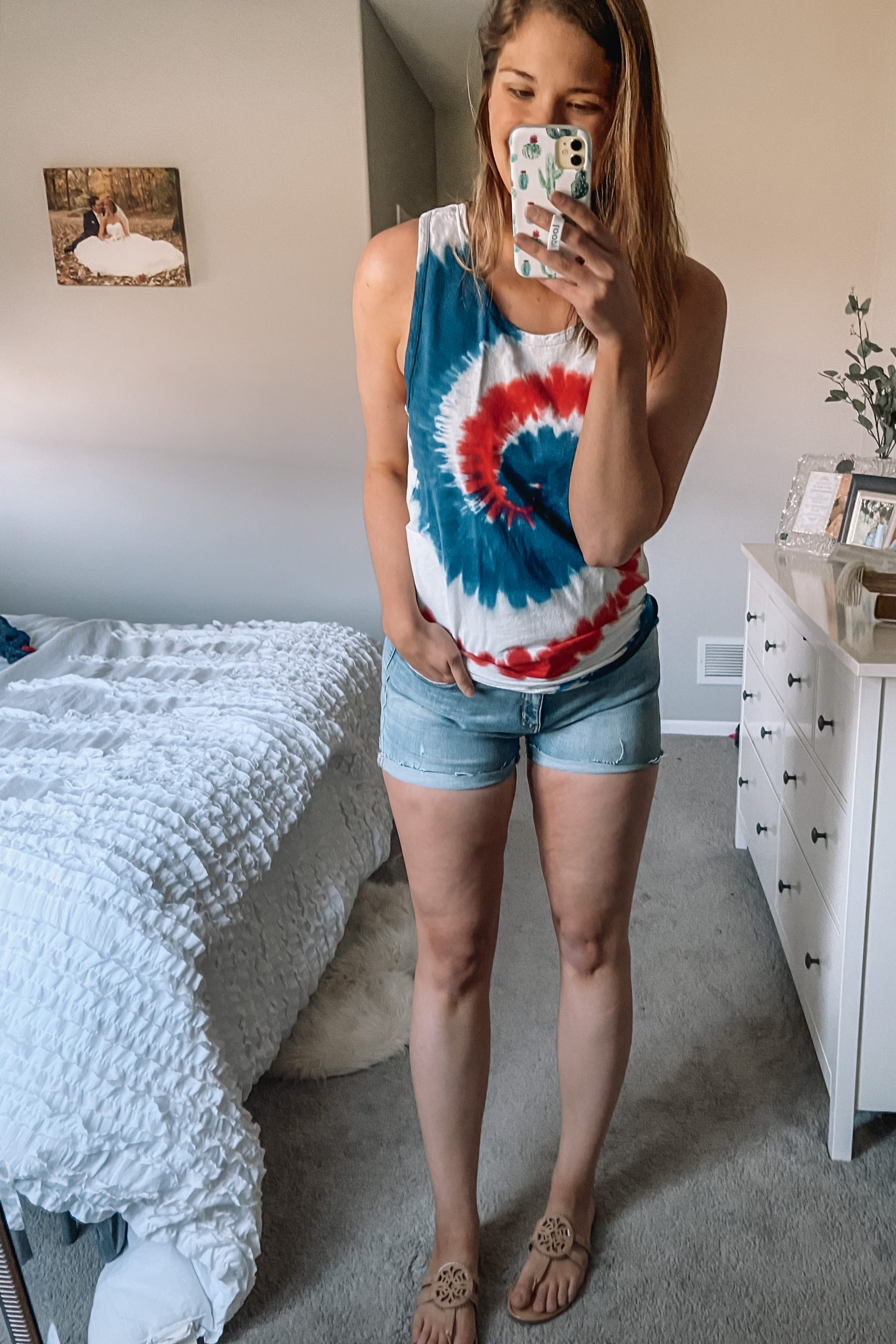 red white and blue tie dye tank denim amazon shorts tory burch miller dupes