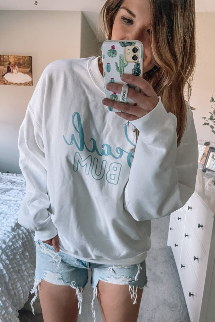 white and aqua beach bum sweatshirt and boyfriend shorts