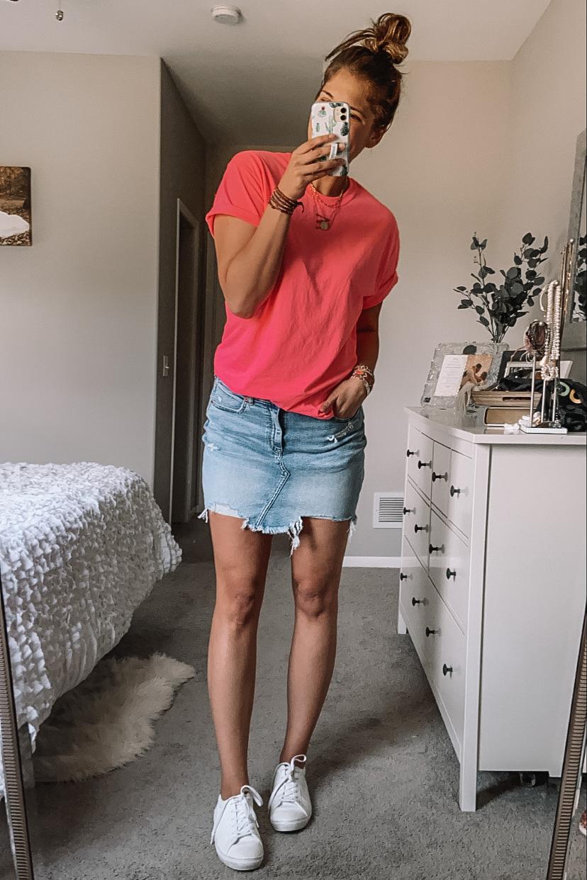 neon pink boyfriend tee womens jean skirt white faux leather sneakers white bedroom