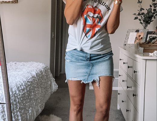 rolling stones tee jean skirt white shoes
