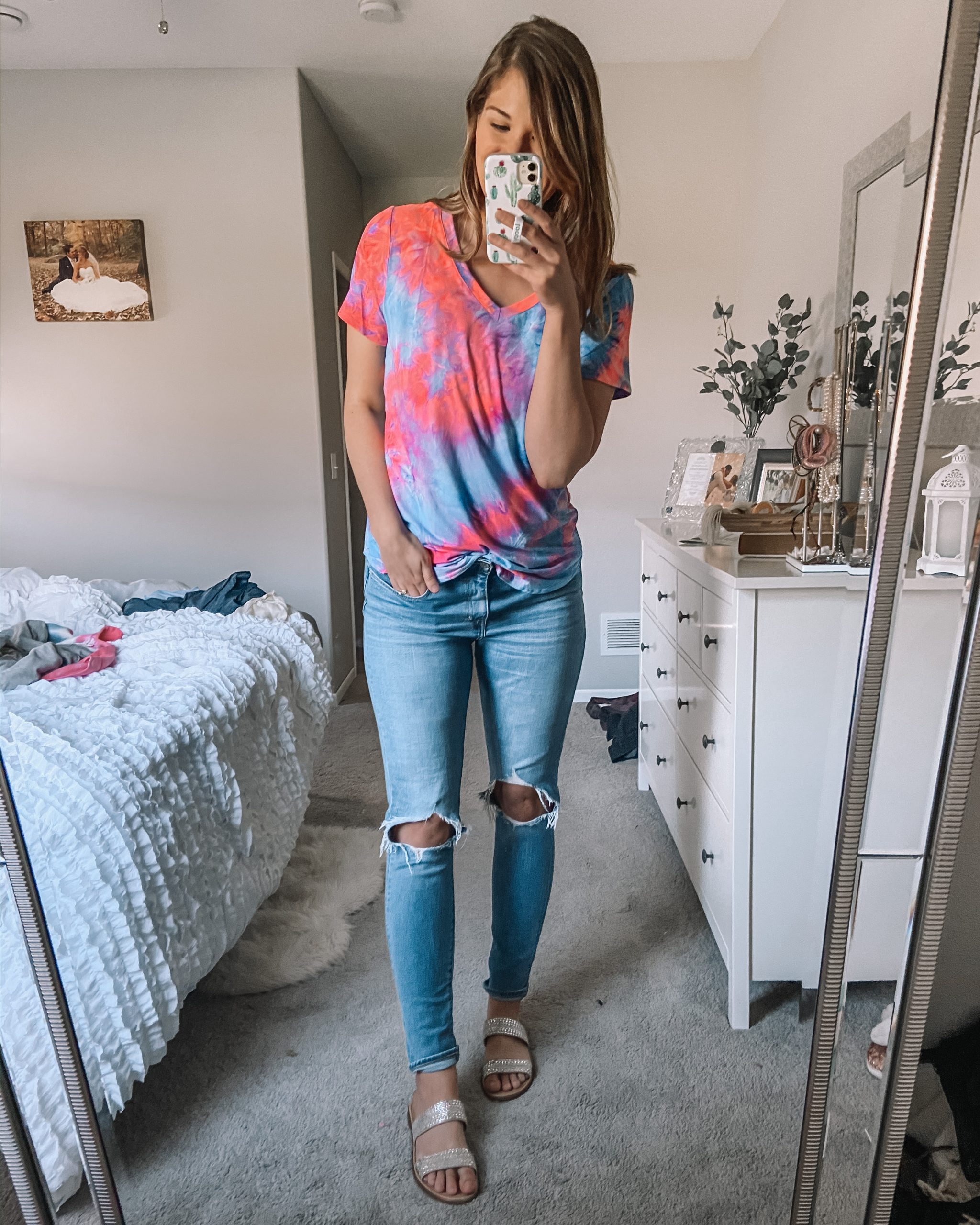 neon pink and blue v neck tee 721 busted knee rugged indigo jeans kersha sandals rhinestone sandals