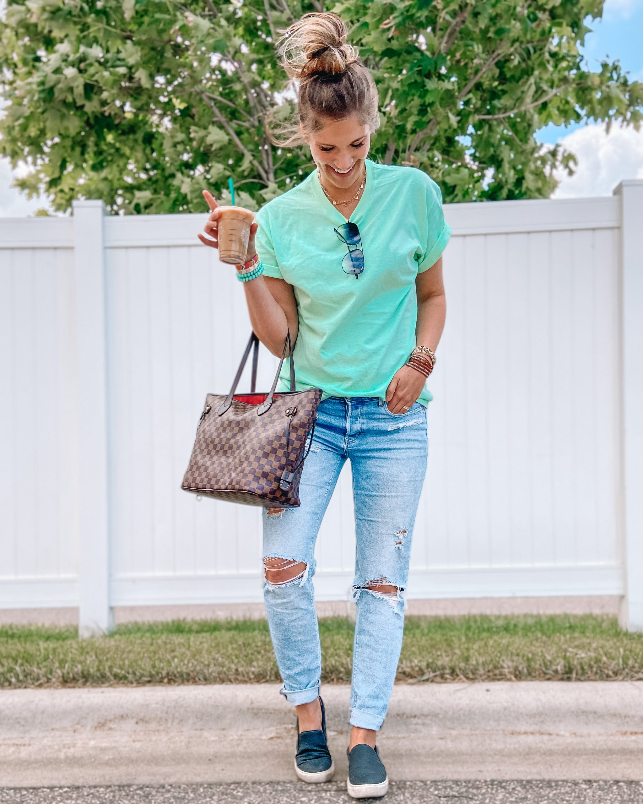 neon green tee tomgirl jeans mom jeans checkered tote quay high key teleties crystal wrap bracelet
