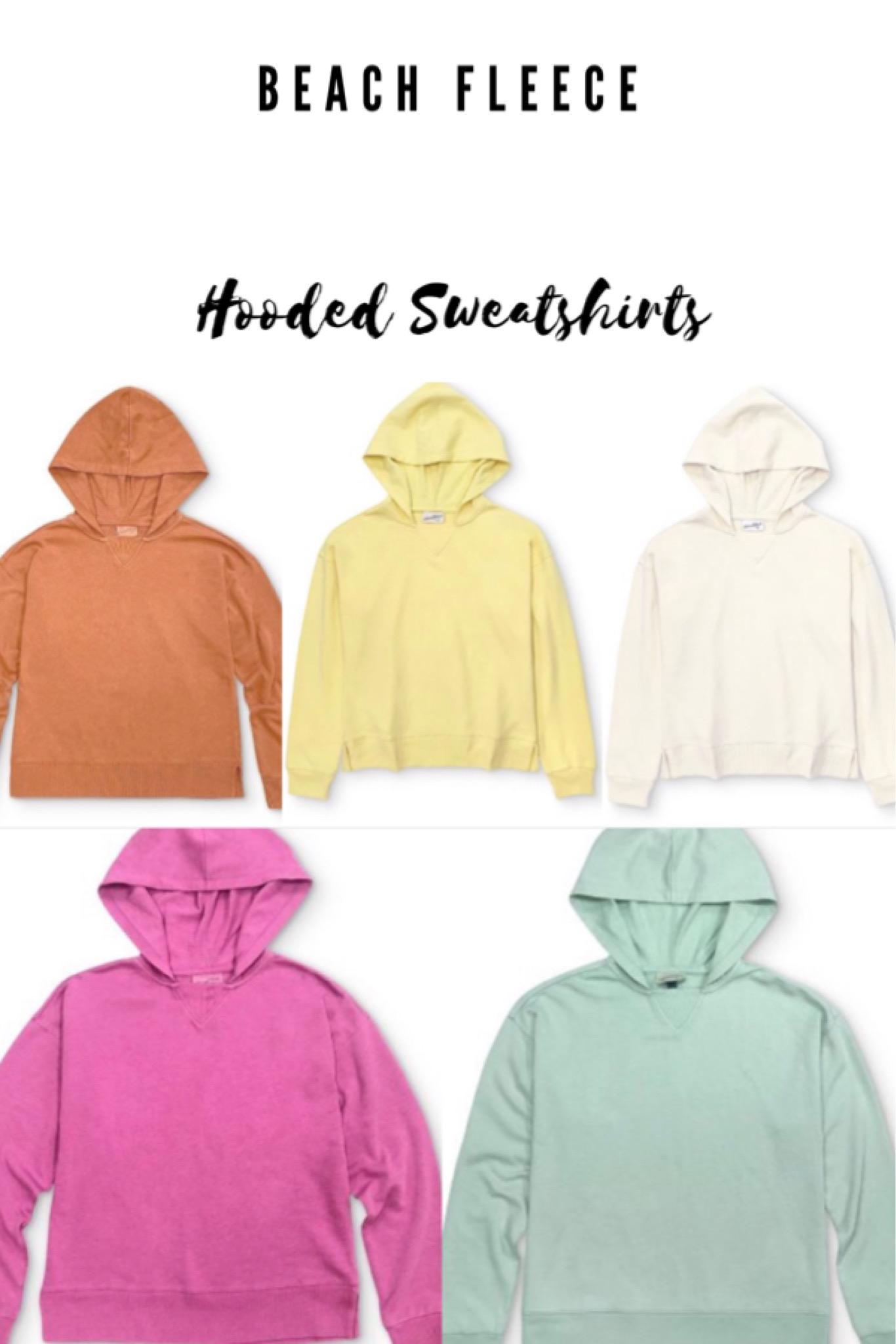 orange sweatshirt yellow sweatshirt white hoodie pink sweatshirt mint green sweatshirt